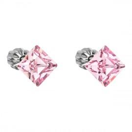 Stříbrné náušnice s krystaly Crystals from Swarovski®, Pink