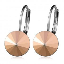 Ocelové náušnice s krystaly Swarovski®, ROSE GOLD