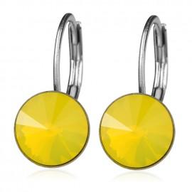 Ocelové náušnice s krystaly Swarovski®, YELLOW OPAL