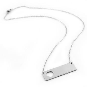 Ocelový náhrdelník, destička se srdíčkem