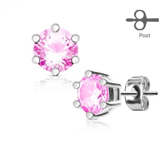 Náušnice růžové kamínky