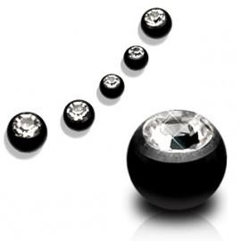 Ocelová náhradní kulička 1,2 x  4 mm, černá s kamínkem