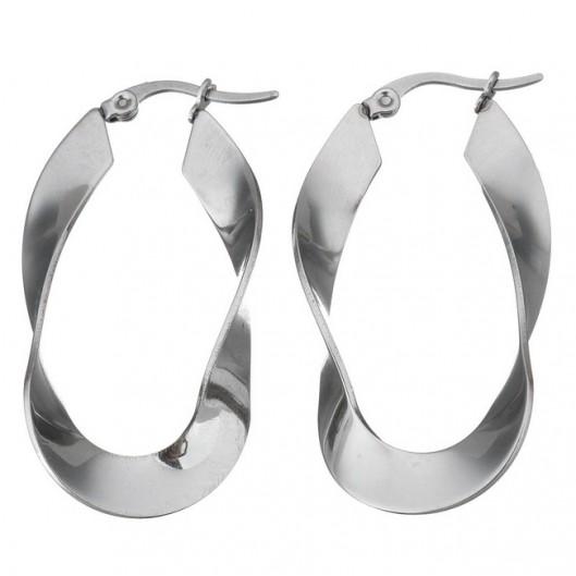 Ocelové náušnice - kruhy kroucené
