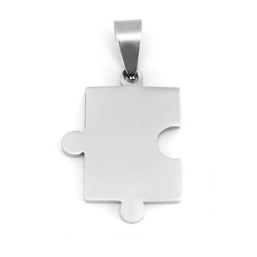 Ocelový přívěšek - destička puzzle levé