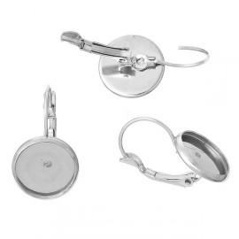 Ocelové náušnicové zapínání - dámský patent, 10 mm kabošon