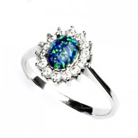 Stříbrný prsten s opálem a zirkony