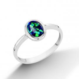 Stříbrný prsten se zelenomodrým opálem