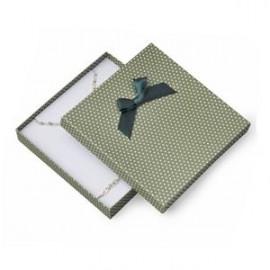 Velká krabička na soupravu šperků zelená, bílé puntíky