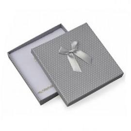 Velká krabička na soupravu šperků šedá, bílé puntíky