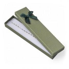 Dárková krabička na náramek zelená, bílé puntíky