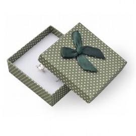 Krabička na soupravu šperků zelená, bílé puntíky