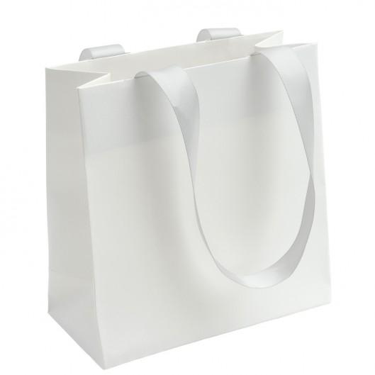 Bílá dárková taška se šedými uchy