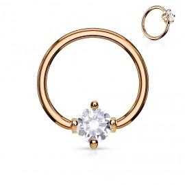 Zlacený piercing - kruh s kamínkem, čirá barva