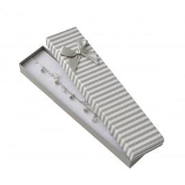 Dárková krabička na náramek, šedé pruhy