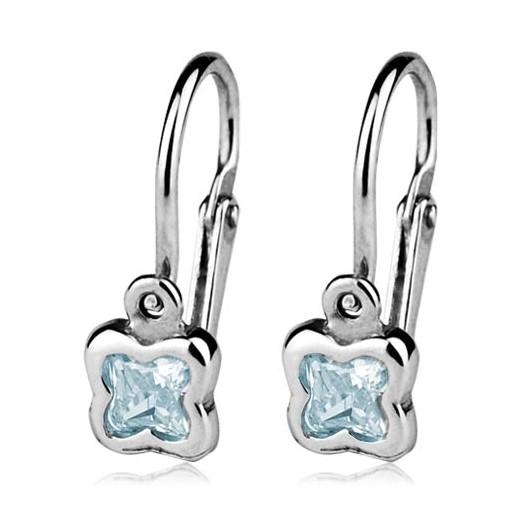 Dětské náušnice stříbrné - kytičky, Aquamarine