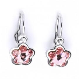 Dětské stříbrné náušnice - kytička, Crystals from SWAROVSKI®, barva: Light Rose