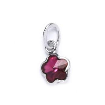 Stříbrný přívěšek s kytičkou Crystals from SWAROVSKI®, barva: Fuchsia