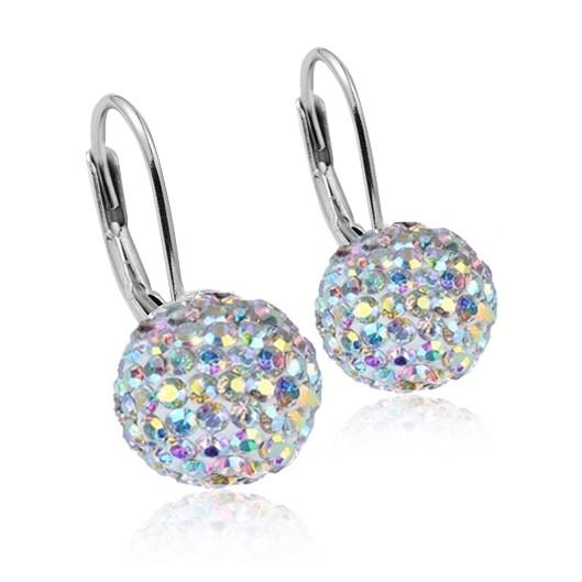 Stříbrné náušnice koule 10 mm s krystaly Crystals from Swarovski®, Crystal AB