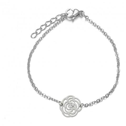 Dámský ocelový náramek s růží