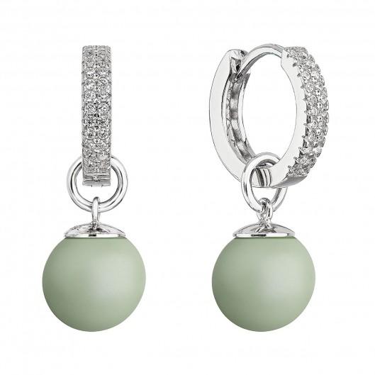 Stříbrné visací náušnice kroužky s pastelově zelenou perlou 31298.3