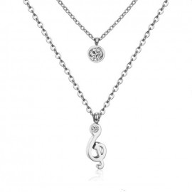 Dvojitý ocelový náhrdelník s přívěšky