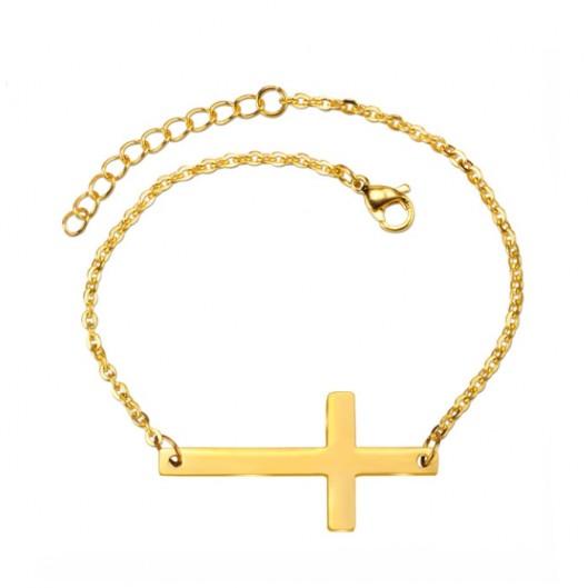 Zlacený ocelový náramek s křížkem
