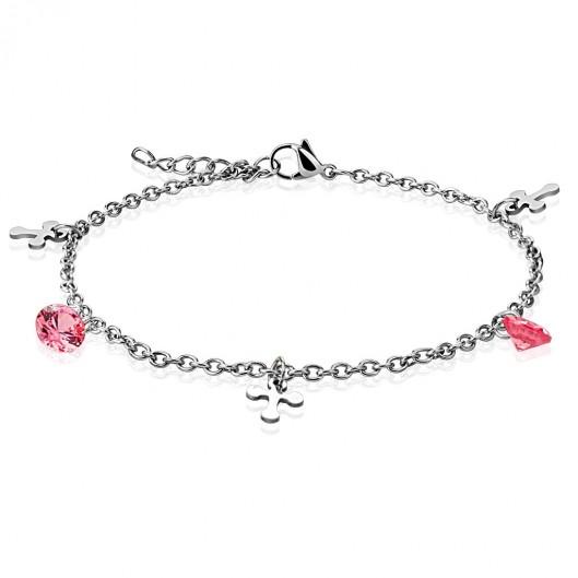 Dámský ocelový řetízek na ruku/nohu, růžové kamínky