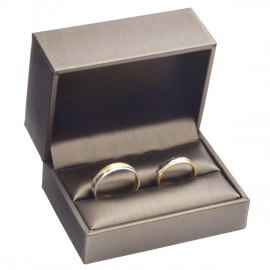 Dárková krabička na snubní prsteny, kovově hnědá