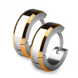 Ocelové náušnice - kroužky zlacené