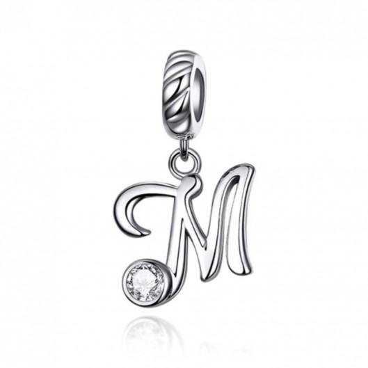 Stříbrný přívěšek korálek - písmeno M