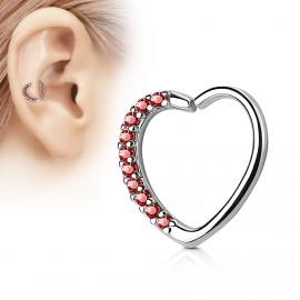 Piercing do nosu/ucha srdce, červené kamínky