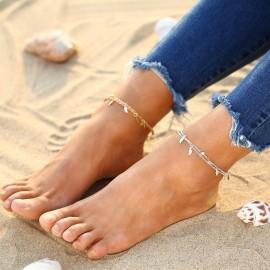 Stříbřený řetízek na nohu s lístečky