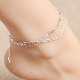Stříbřený řetízek na nohu zdobený kamínky