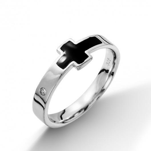 Stříbrný prsten černý kříž