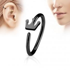 Černý piercing do nosu/ucha kruh s korunkou