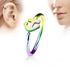 Duhový piercing do nosu/ucha kruh s kotvou