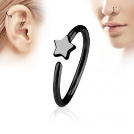 Černý piercing do nosu/ucha kruh s hvězdou