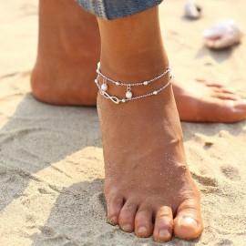 Stříbřený řetízek na nohu - nekonečno