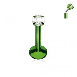 Piercing do brady zelený, čirý kamínek