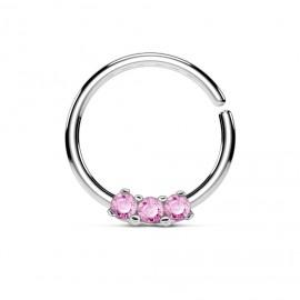 Piercing do nosu/ucha kruh s růžovými zirkony
