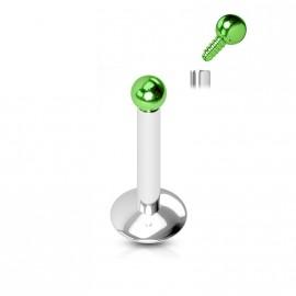 Piercing do brady, zelená kulička
