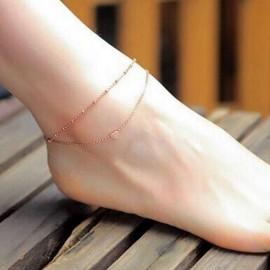 Dvojitý zlacený řetízek na nohu se srdíčkem