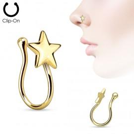 Falešný piercing do nosu - klips hvězda zlacená