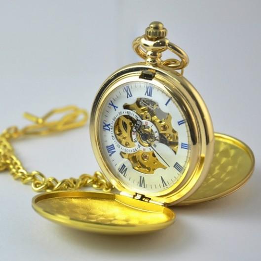7ef6a9e29ac Mechanické kapesní hodinky otevírací zlacené - cibule