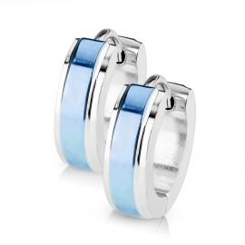 Ocelové náušnice - kroužky modré