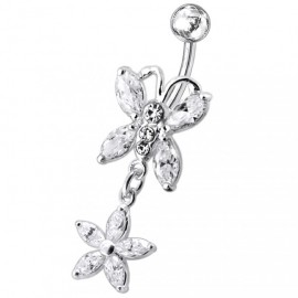 Stříbrný piercing do pupíku - motýlek