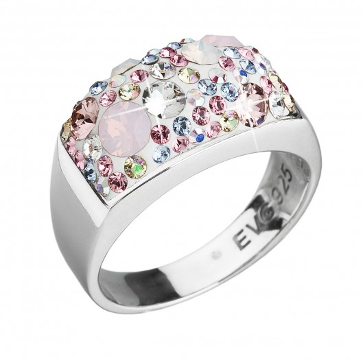 Stříbrný prsten s krystaly Swarovski růžový 35014.3