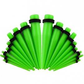 Akrylátový roztahovák do ucha zelený