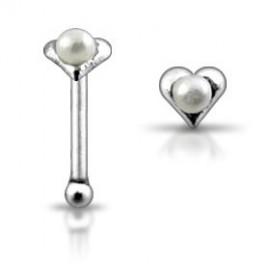 Stříbrný piercing do nosu - srdíčko s perličkou