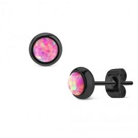 Černé ocelové náušnice s růžovými opály